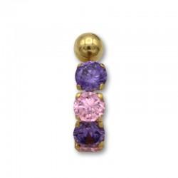 Piercing de ombligo en oro con piedras en linea rosa y amatista