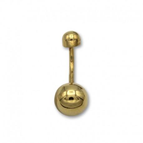 Piercing de ombligo en oro con forma de bola