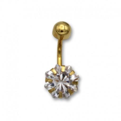 Piercing de ombligo en oro con circonita de estrella
