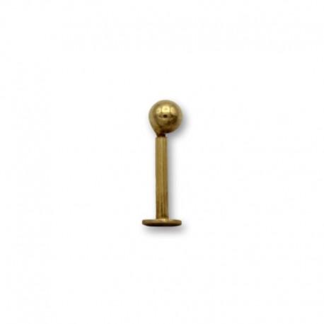 Piercing de labio en oro con forma de bola