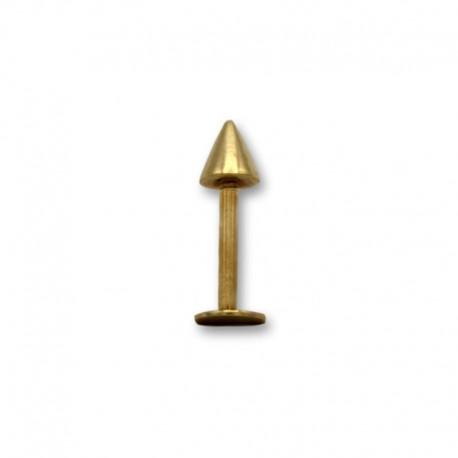 Piercing de labio en oro con forma de pincho