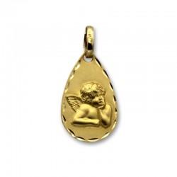 Medalla de oro con forma de lagrima con ángel