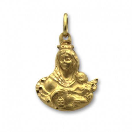 Medalla de oro de la silueta de la virgen del Carmen