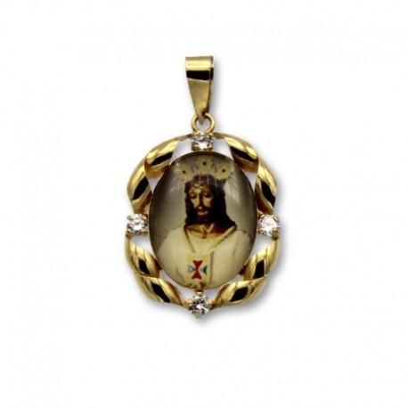 Medalla de oro de Jesús Cauitivo en esmalte