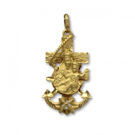 Curz marinera de oro de la virgen del Carmen