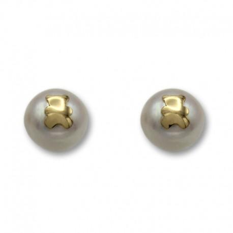 Pendiente de oro con una perla y la silueta de un oso 9mm