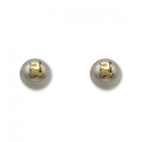 Pendiente de oro con una perla y la silueta de un oso 7 mm
