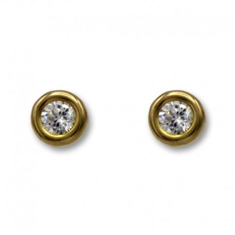 Pendiente en oro con circonita y forma de botón