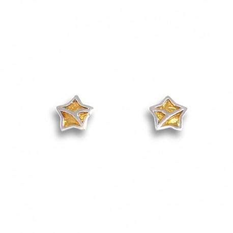 Pendiente para niña en oro estrella bicolor