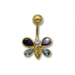 Piercing de ombligo en oro con forma de mariposa