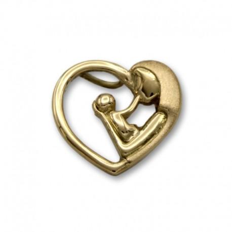 Colgante de oro con mama y bebe en forma de corazón