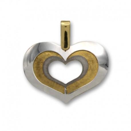 Colgante de oro bicolor corazon