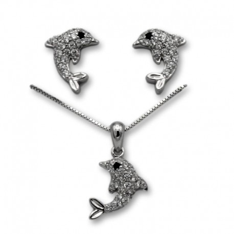 Conjunto delfines en plata y circonitas