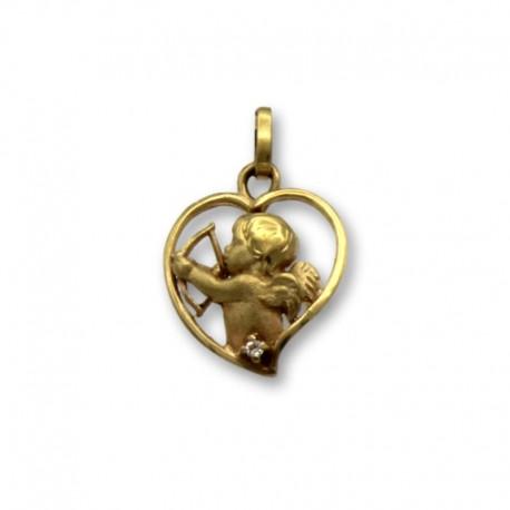 Colgante de oro corazon con cupido
