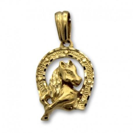 Colgante de oro con una herradura y caballo
