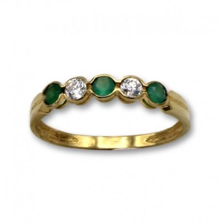 Sortija de oro con Esmeraldas y Diamantes