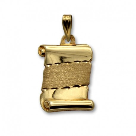 Colgante de oro pergamino con franja