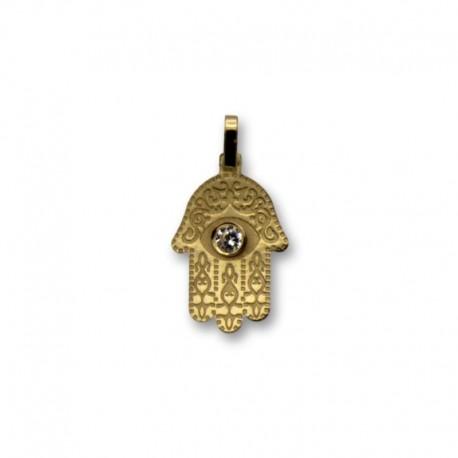 Colgante de oro mano de fátima con circonita