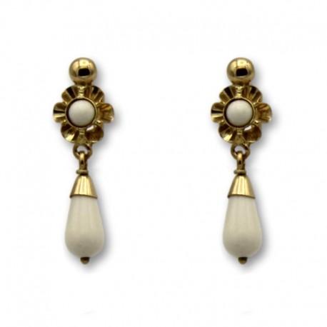 Pendiente de oro arquillo color coral blanco lágrima 1ª postura