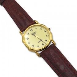 Reloj de hombre con esfera redonda chapada en oro