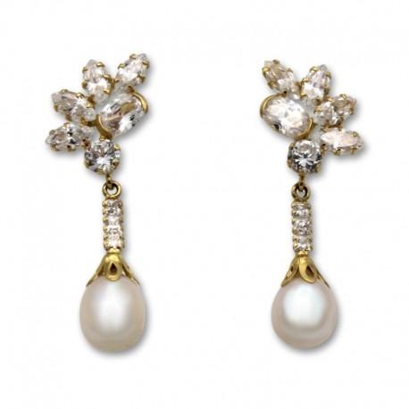 Pendiente de oro circonitas y lagrima perlas