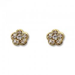 Pendiente de oro con forma de flor y circonitas
