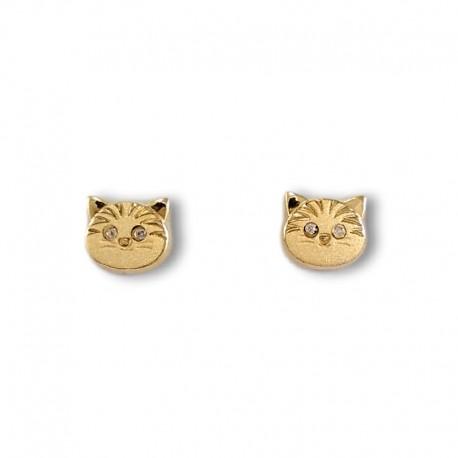 Pendiente para niña en oro gatito circonitas