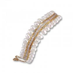 Pulsera de oro con perlas y circonitas