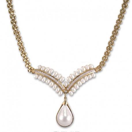 Gargantilla de oro con circonitas y perlas