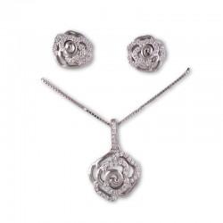Conjunto flor rosa en plata y circonitas