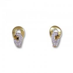 Pendiente oro diseño con circonitas
