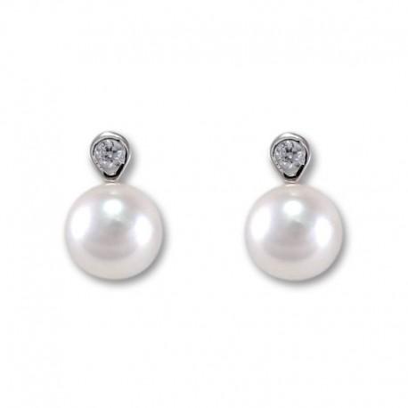 Pendientes oro blanco perla y circonita
