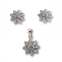 Conjunto pendientes y colgante flor plata