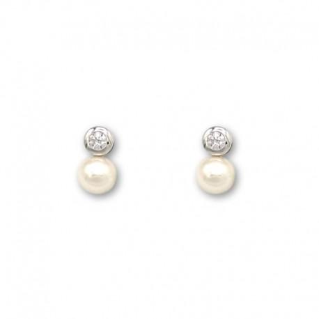 Pendientes oro blanco perla y circonita chaton