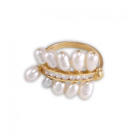 Sortija de oro con circonitas y perlas