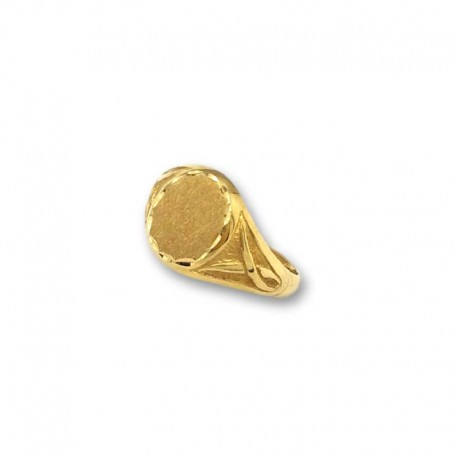 Sello de oro ovalado con motivo lateral