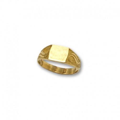 Sello de oro cuadrado con motivo lateral