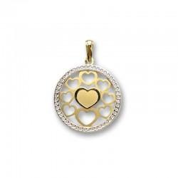 Colgante oro con corazones tallados y circonitas
