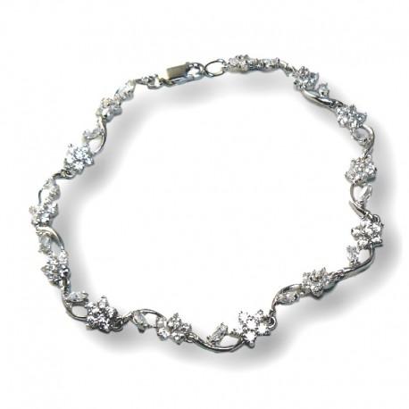 c1292612458b Pulsera de plata de ley eslabones de flores y circonitas de calidad.