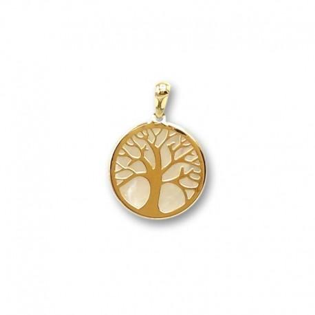 Colgante de oro y nacar de árbol