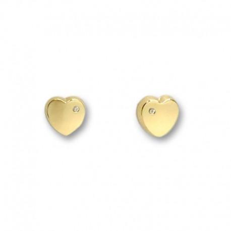 Pendiente de oro corazon liso circonita