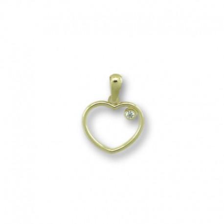Colgante de oro corazon y circonita