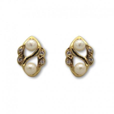 Pendiente de oro perlas y circonitas cierre catalan
