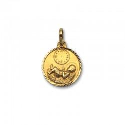 Medalla de oro redonda de bebe con reloj