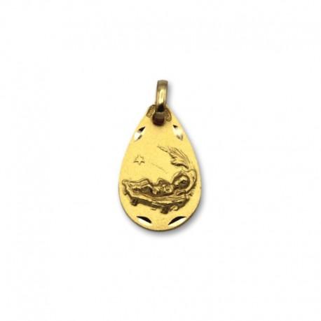 Medalla de oro ovalada con niño Jésus