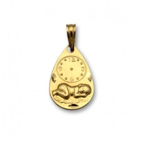 Medalla de oro con forma de lagrima con reloj y niño