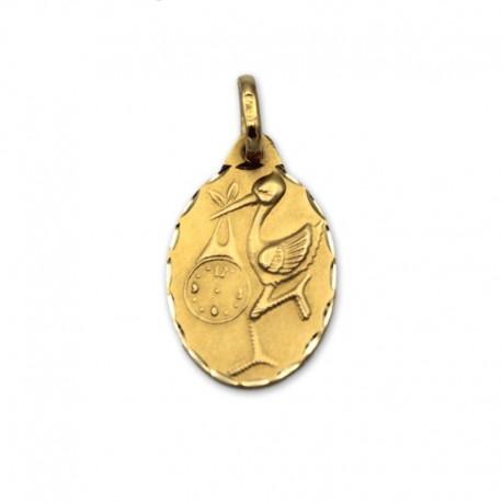 Medalla de oro oval con cigüeña y reloj
