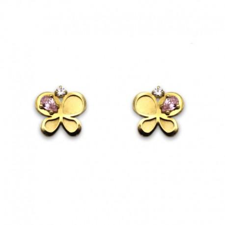 Pendiente de oro mariposa con piedras