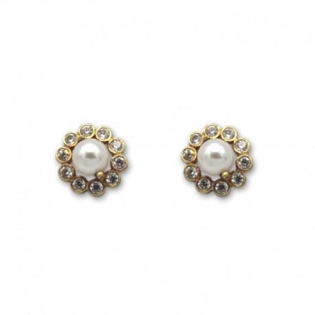 Pendiente de oro perlas y circonitas