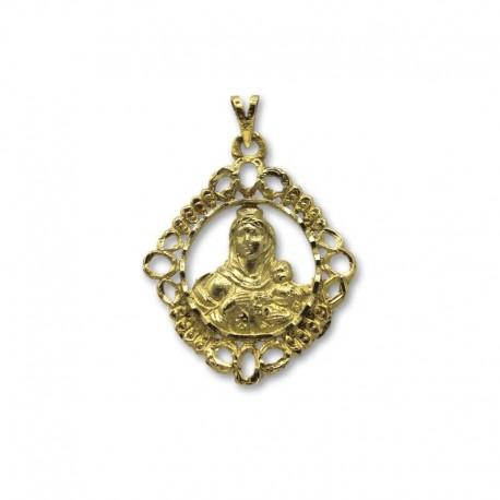 Medalla de oro virgen del Carmen calada